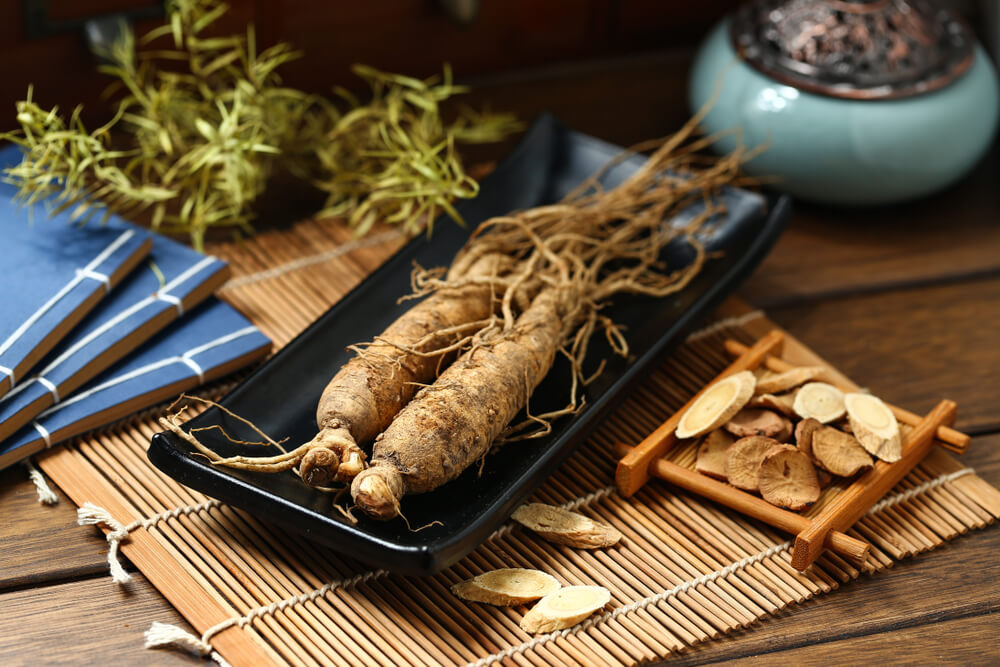 Ginseng root on tray