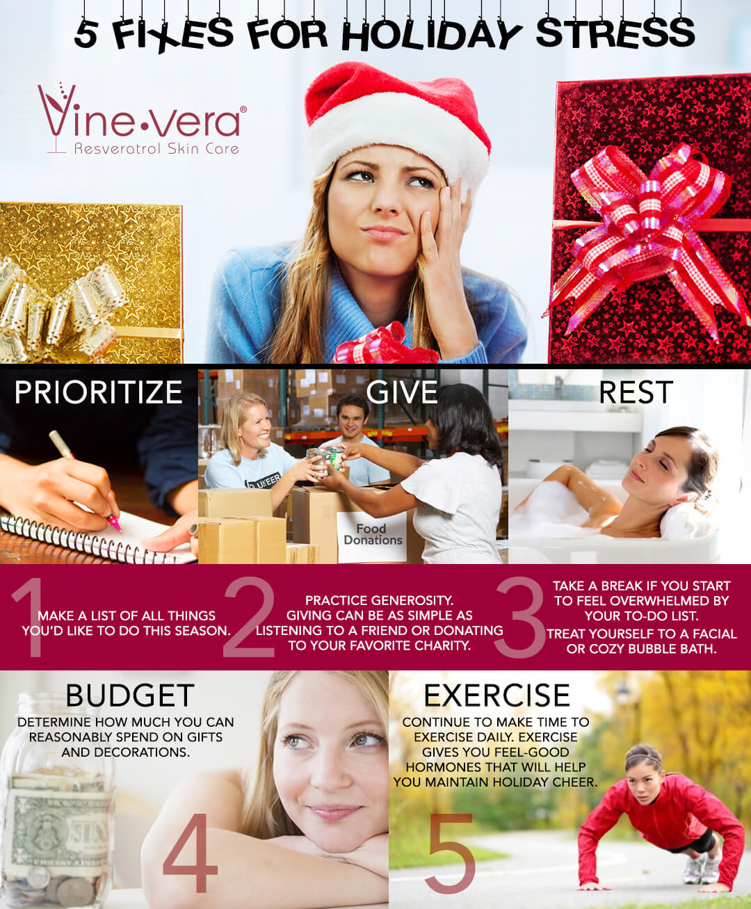 Infographic on how to deal with holiday stress