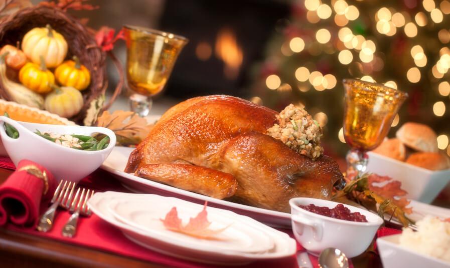 Roast turkey on table for Christmas