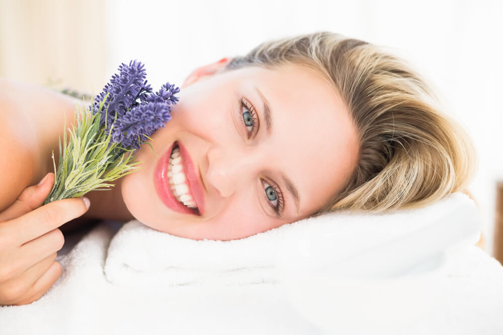 smiling woman with lavender