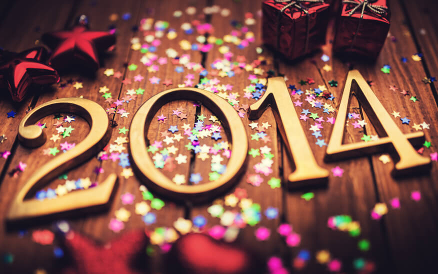 Lights and decoration around the letters '2014'